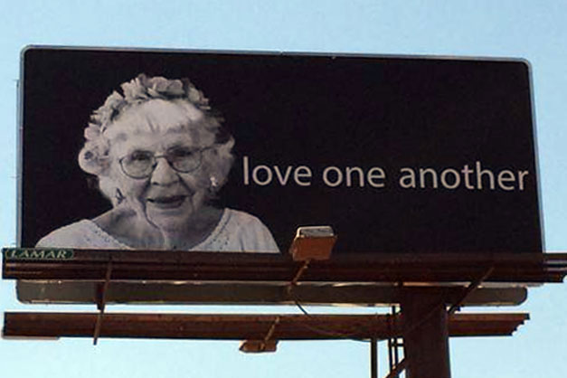 Billboards featuring 95-year-old United Methodist share a message of hope and love. Photo by Christopher Fenoglio, United Methodist Communications.