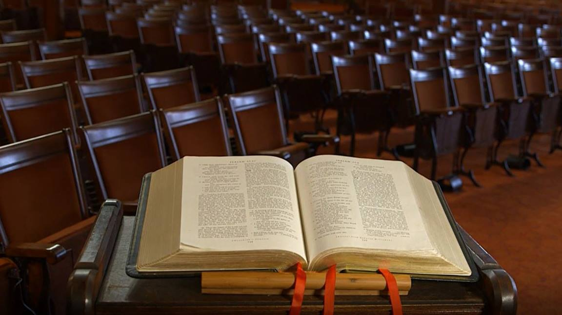 Scripture rests on a pulpit at Lovely Lane United Methodist Church in Baltimore, MD.  Video image by United Methodist Communications.