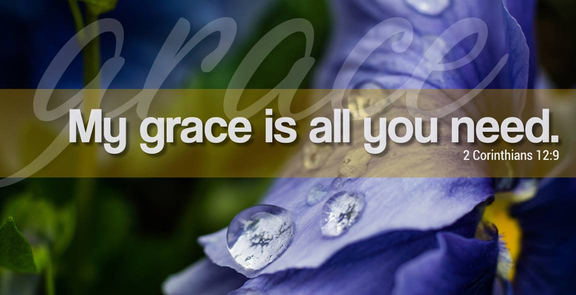My grace is all you need. 2 Corinthians 12:9. Illustration by Troy Dossett, United Methodist Communications.