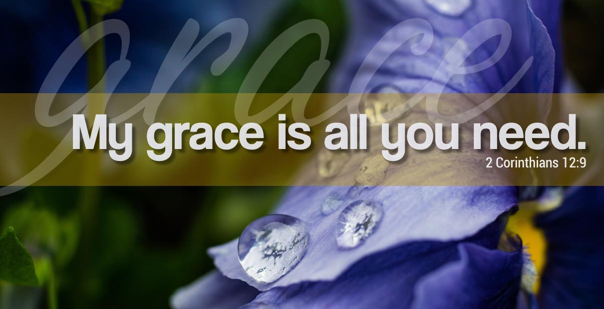 Ma grâce est tout ce dont vous avez besoin. 2 Corinthiens 12: 9. Illustration de Troy Dossett, United Methodist Communications.