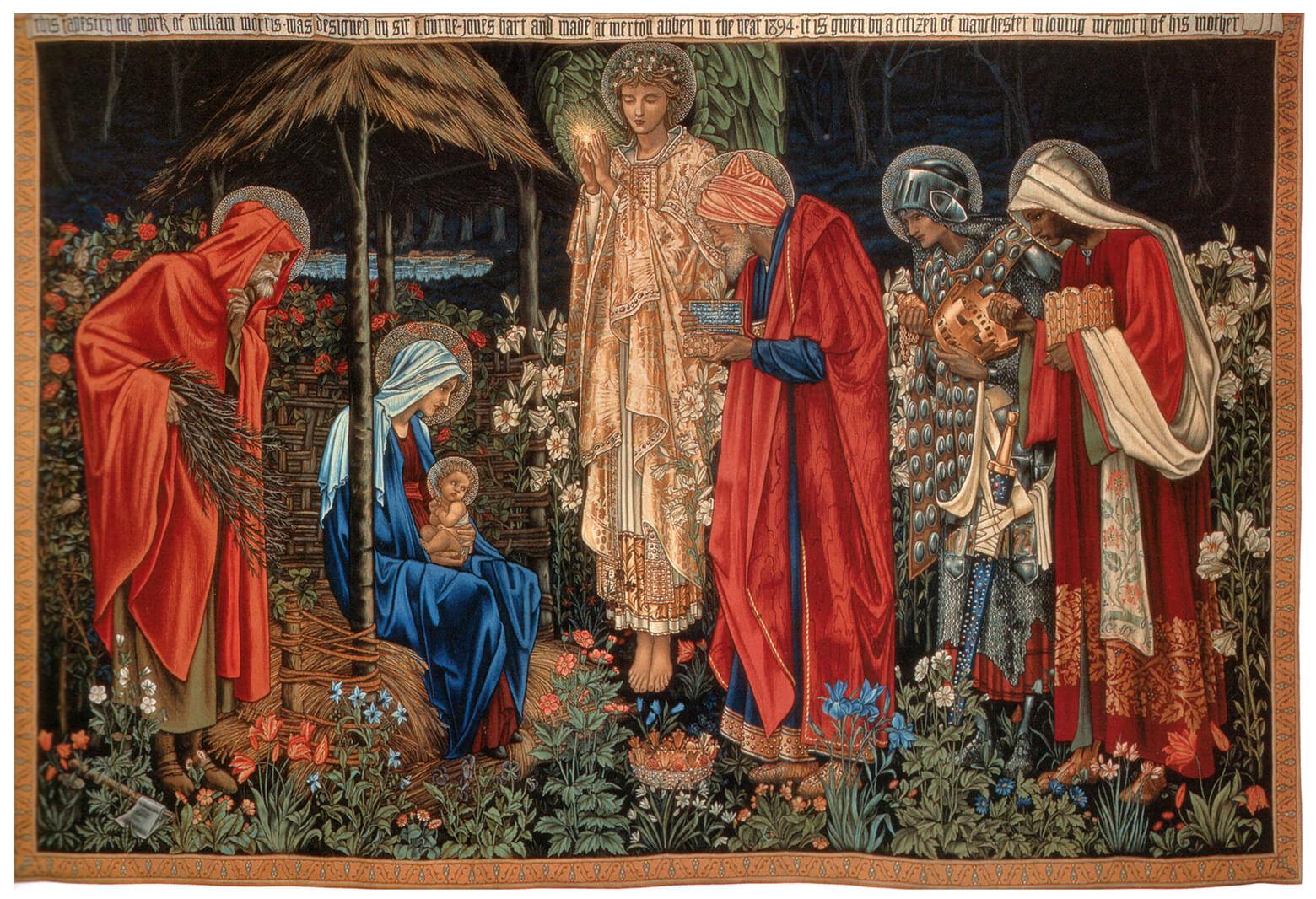 """""""El tapiz de la Adoración de los Magos que data de 1894 de la Universidad Metropolitana de Manchester, Inglaterra. Imagen cortesía de Wikimedia Commons""""."""