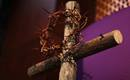 Display featuring a crown of thorns and cross with purple cloth heralds the beginning of Lent. File photo by Kathleen Barry, United Methodist Communications.