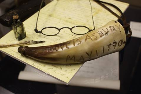 View of the original glasses and powder horn carried by the Rev. Francis Asbury, a sampling of thousands of historic items housed at the General Commission on Archives and History at Drew University in Madison, New Jersey. Note that the quill and ink bottle are original examples used in the time of Asbury but not attributed to being his own items.  Images courtesy of the General Commission on Archives and History of the United Methodist Church. A UMNS photo by Kathleen Barry, November 2010.