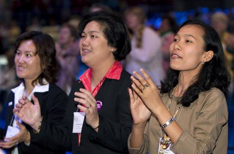 Women participate in a UMW assembly in 2010. File photo courtesy of United Methodist Communications.