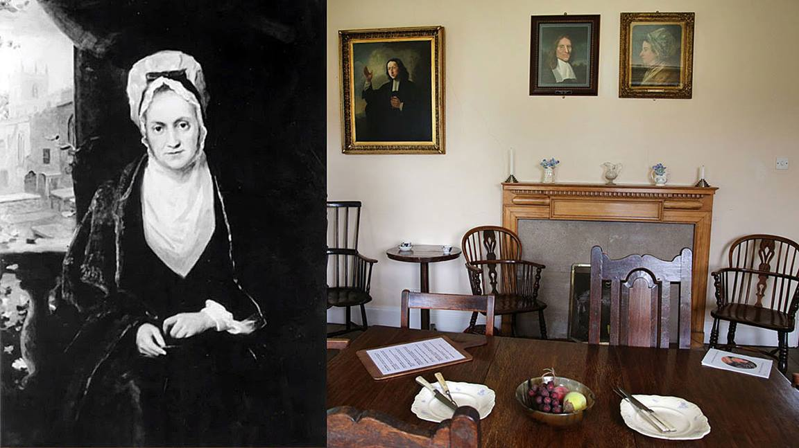 An image of Susanna Wesley is placed next to a scene from the dining room of the Old Rectory in Epworth, England where Samuel and Susanna Wesley brought up their family. Image courtesy of United Methodist General Commission on Archives and History. Photo of dining room by Kathleen Barry, United Methodist Communications