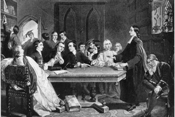 "An image of the Wesleys' ""Holy Club"" meeting at Oxford, based on a 19th century lithograph. Used with permission from the Methodist Collection of Drew University."