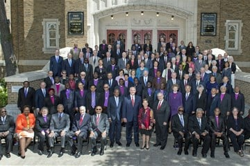 United Methodist bishops pose for a group photo in May 2017 on the steps of First United Methodist Church in Dallas, Texas. Photo by Maidstone Mulenga, Council of Bishops.