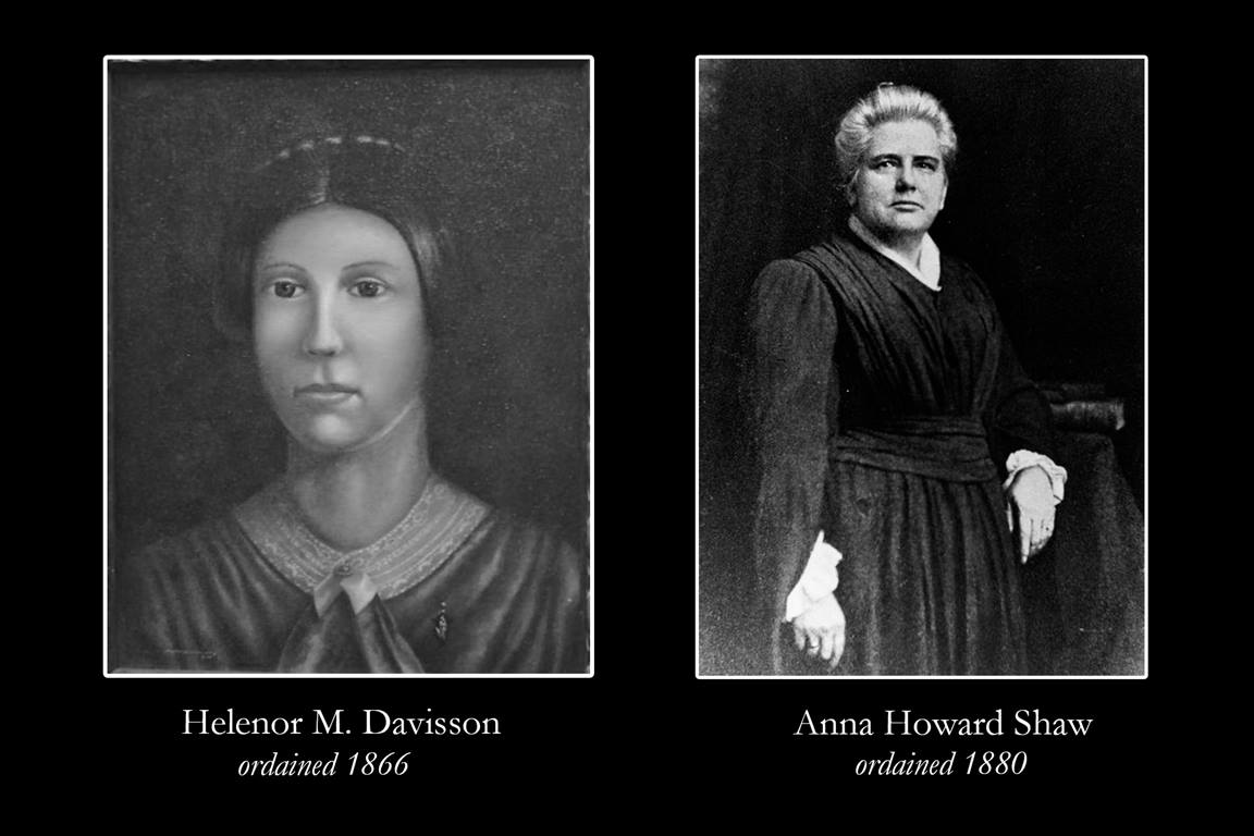 Portrait of Helenor M. Davisson, courtesy of Archives and History (edited from original); portrait of Anna Howard Shaw, courtesy of the Sophia Smith Collection, Smith College Libraries.