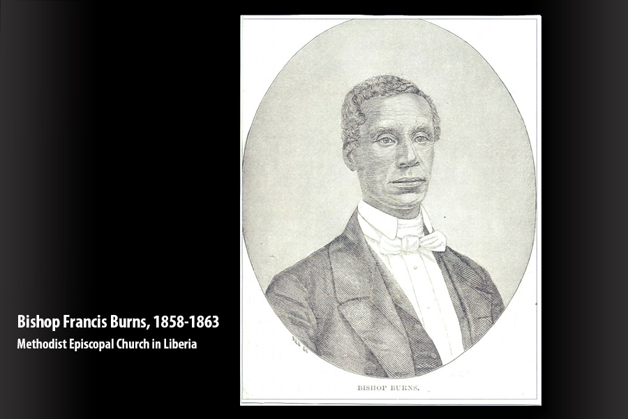 Bishop Francis Burns, missionary bishop of the Methodist Episcopal Church in Liberia, 1858-1863. Photo courtesy of the Liberia Annual Conference of The United Methodist Church.