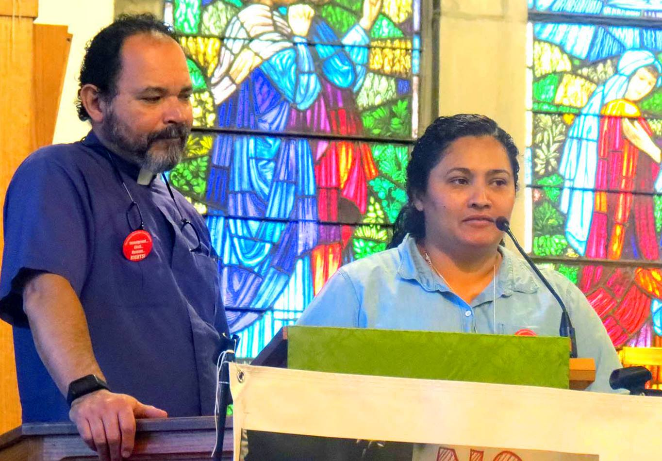 Maria Larios shares the story of her journey from Honduras to the United States some twenty-five years ago – with the help of translator, Rev. Enrique Lebron – during the New York Conference's Immigration Vigil and Forum. Larios, who has gained her U.S. citizenship, now assists with the Hispanic ministries at the Hicksville United Methodist Church.