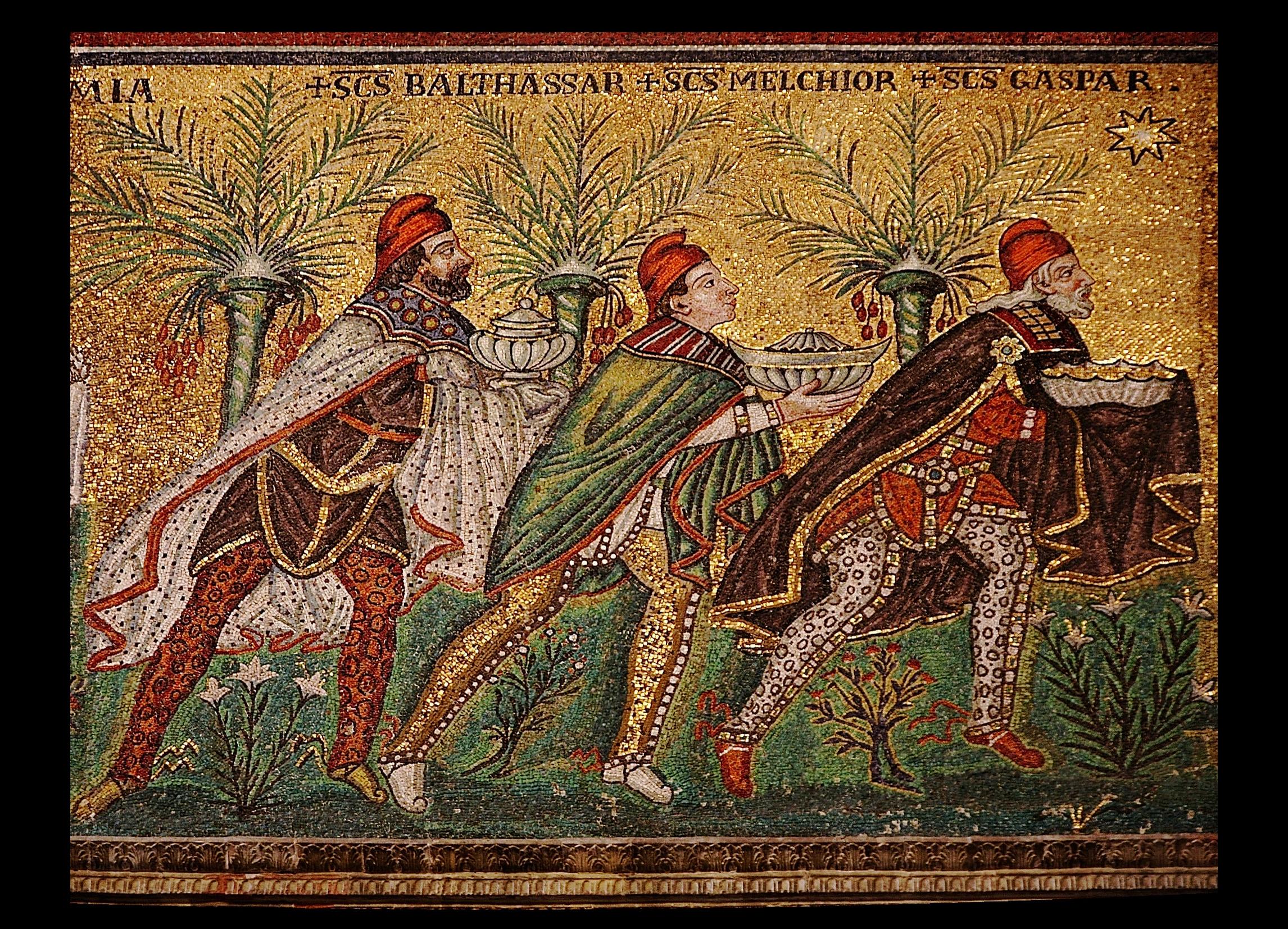 The magi follow the star in this sixth-century mosaic at the Basilica of Sant'Apollinare near Ravenna, Italy. Photo by Nina-no, courtesy Wikimedia Commons.
