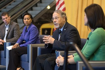 Gilbert C. Hanke (second from right), top executive of United Methodist Men, speaks on a panel at the AMEND Experience Sept. 26 at Bridgestone Arena in Nashville, Tenn. The annual YWCA event focused on teaching healthy masculinity and violence prevention to those who work with and can influence Nashville's youth. Hanke was joined on stage by Drew Maddux (Christ Presbyterian Academy in Nashville), Allison May (Allstate Southern Region) and Kate Jay (Verizon Southeast Market). Photo by Carly Clark for YWCA Nashville & Middle Tennessee.