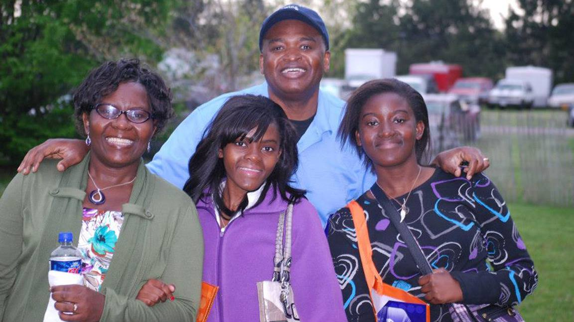 The Rev. Maidstone Mulenga poses with his wife Charity and daughters Lukonde and Mukuka. Photo courtesy of the Rev. Maidstone Mulenga.