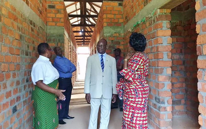 East Congo Area Bishop Gabriel Yemba Unda visits the Mamma Lynn Center in January in Kindu, the capital of the Maniema province of the Democratic Republic of Congo. The center, a project of The California-Pacific, Memphis and Tennessee conferences in cooperation with The United Methodist Church in the Congo, will give rape survivors a chance to heal and overcome the stigma that makes them outcasts. Photo by Judith Osongo Yanga, UMNS.