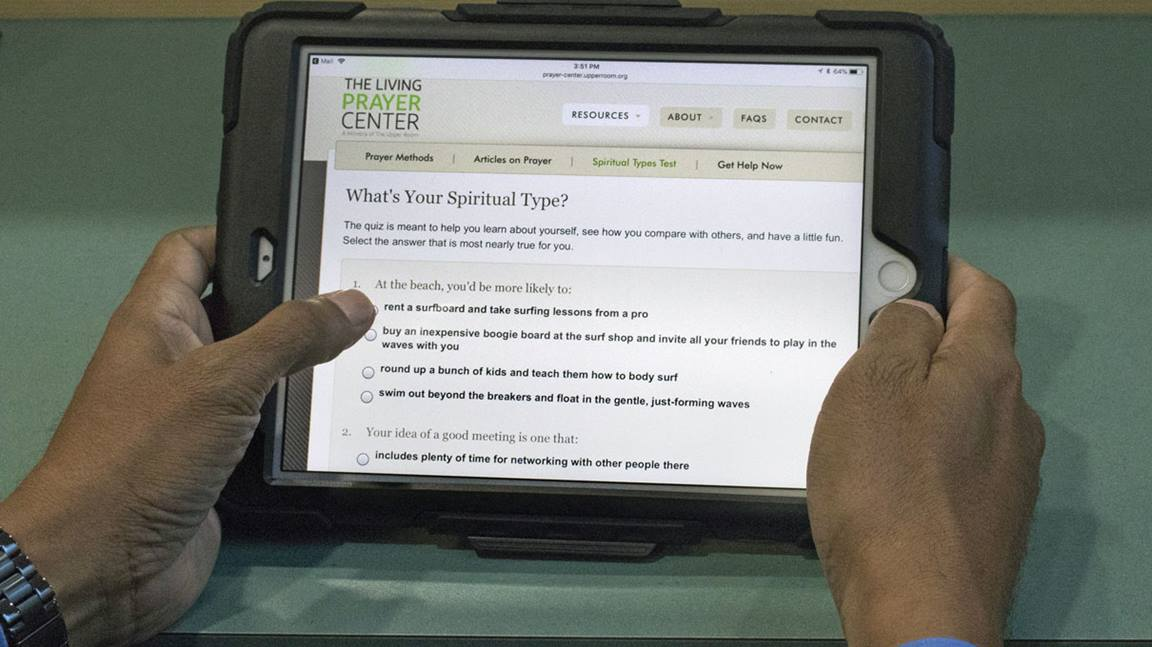 Some online quizzes, such as this one from The Upper Room, can help us better understand our spiritual type and gifts. Photo by Kathleen Barry, United Methodist Communications.