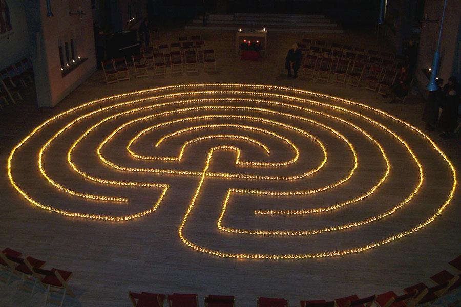 A lit prayer labyrinth.