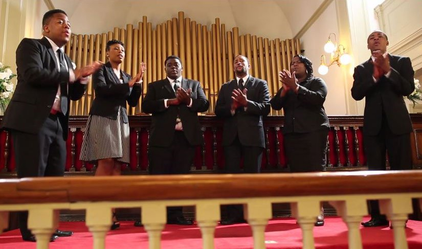 "Choir sings as part of ""Reflect, Reclaim, Rejoice"" project about black sacred music. Video image courtesy of United Methodist Discipleship Ministries."