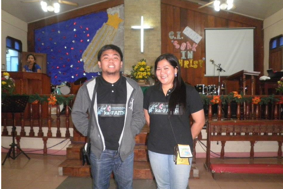 "Kevin John ""Kejo"" Maddela stands with another youth leader at Christmas Institute 2012 in the Philippines. Photo courtesy of Kevin John Maddela."