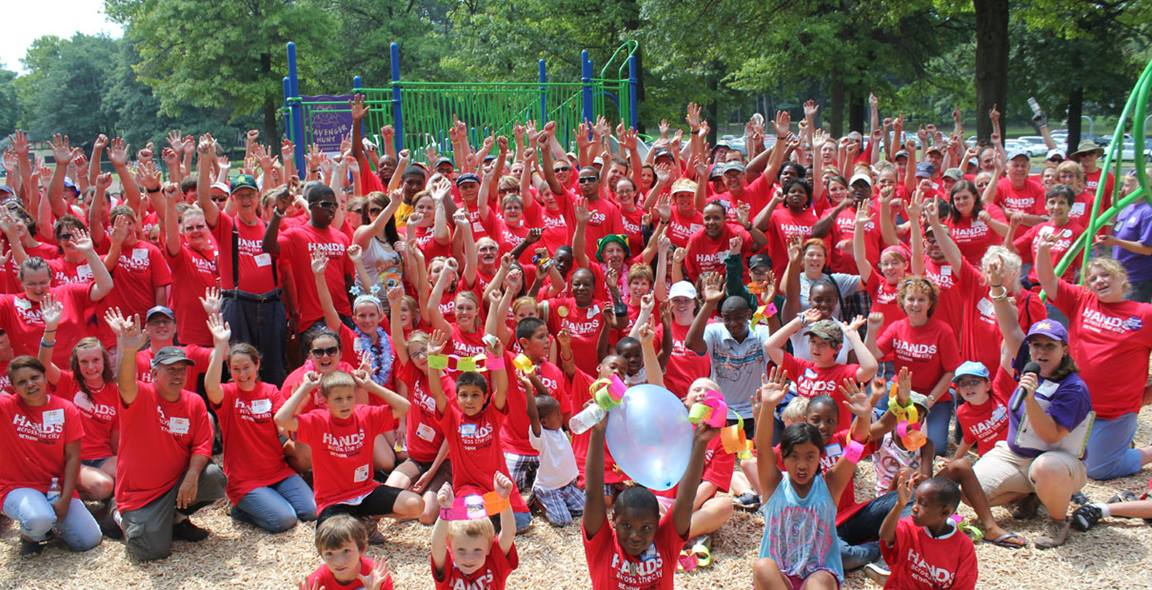 Group shot shows volunteers at a community event in Grand Rapids, Michigan in 2010. Courtesy Pam Buck, United Methodist Communications.