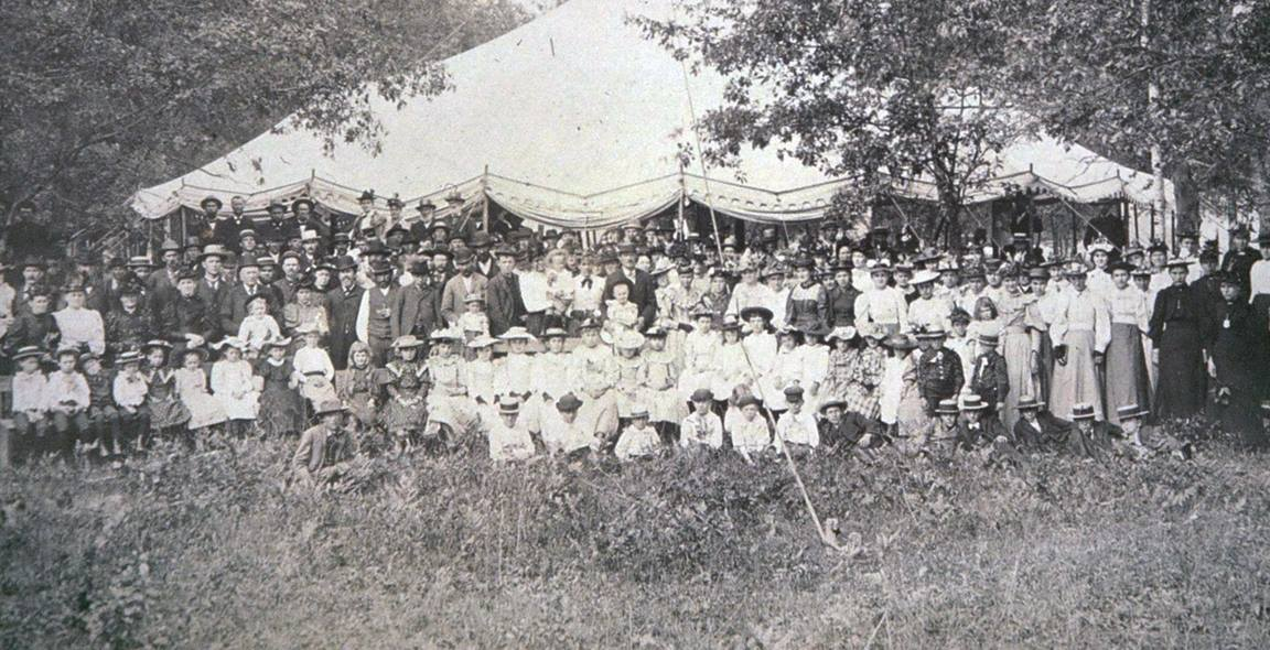 People traveled great distances to attend camp meetings, like this one at Witwen around 1900. Photo courtesy Witwen Camp Meeting Association.