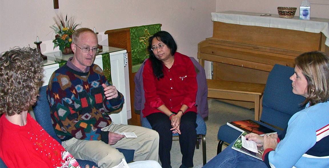 In a Covenant Discipleship group, each member gives an account of how they are doing in their spiritual life. Mark Deshon (second from left) is the Discipleship Leadership team leader at Newark (Delaware) United Methodist Church. Photo courtesy of Mark Deshon
