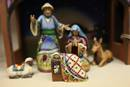 Nativity figures in blue. Photo by Kathleen Barry, United Methodist Communications.