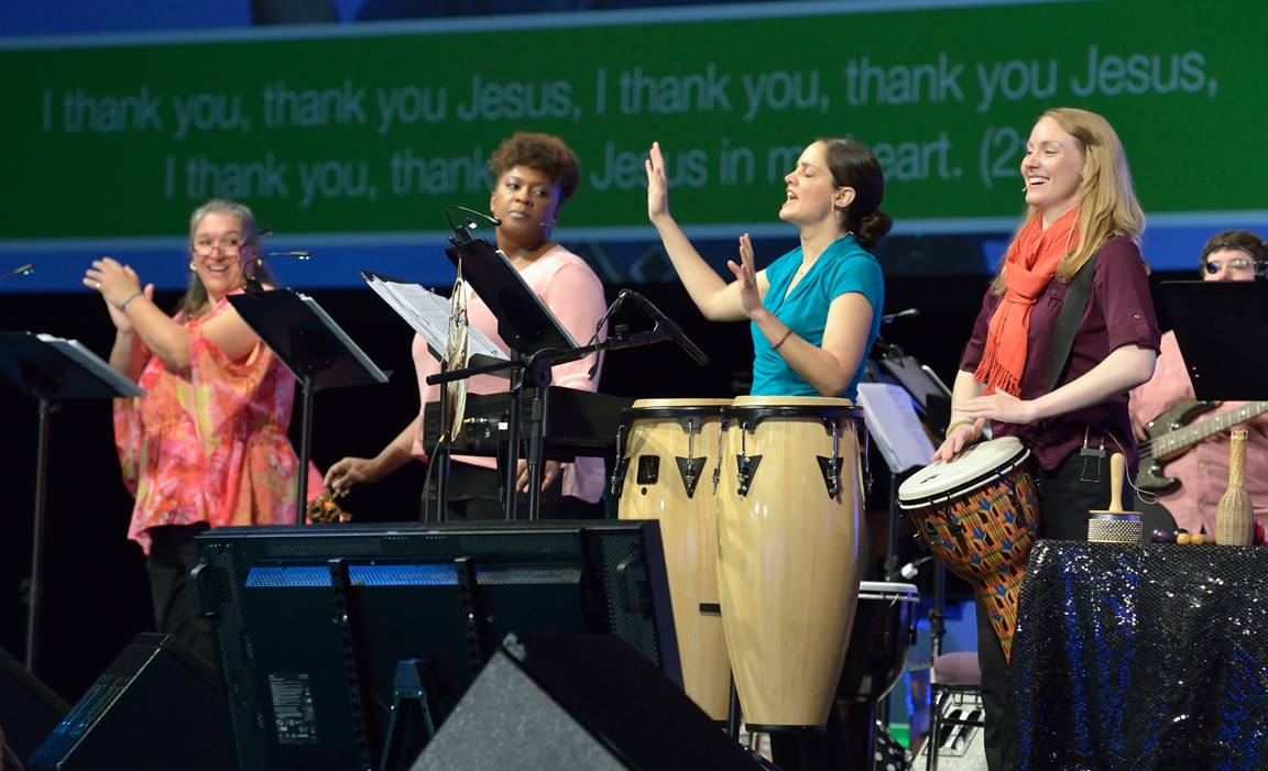 Musicians lead singing during a worship service at UMW Assembly in 2014. File photo by Paul Jeffrey.