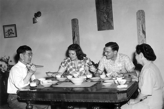 """J-3s"""" learn how to use chopsticks, 1948. Cultural training in small-group settings, first class of young adult Japan three-year missionaries."""