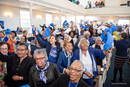 Stand with Bennett supporters celebrate upon hearing that the College has raised $8.2 million
