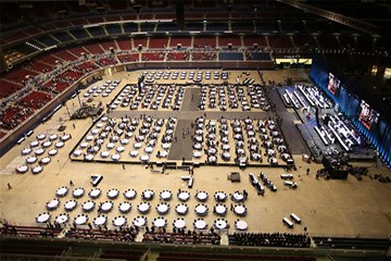 This is an overview of the  plenary hall and stage of the Feb. 24 opening worship service for the special  called 2019 United Methodist General Conference in St. Louis.