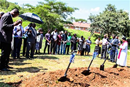 Vice Chancellor Professor Munashe Furusa prays at the ground breaking ceremony for the brand new Student Union Building that was generously donated by the Highland Park United Methodist Church.