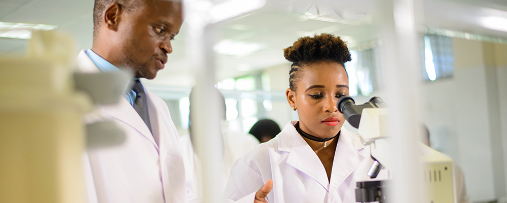 Students study in one of the modern science labs at United Methodist-related Africa University in Mutare, Zimbabwe.