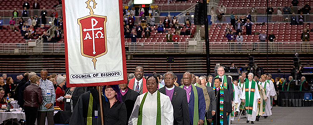 Bishops process into worship on February 24, 2019, at the Special Session of the General Conference of The United Methodist Church, held in St. Louis, Missouri.