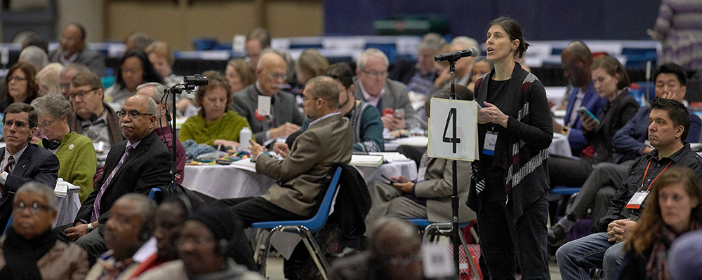 Delegate Jill Wondel of Missouri speaks on February 25, 2019, during the Special Session of the General Conference of The United Methodist Church, held in St. Louis, Missouri.