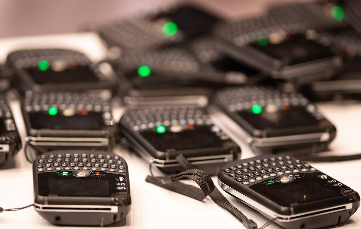 Spare voting machines rest on a table at the 2019 United Methodist General Conference in St. Louis. Photo by Mike DuBose, UM News.