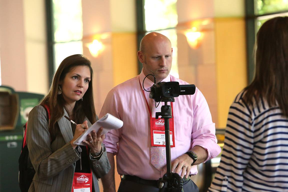 South Carolina communicators, Jessica and Matt Brodie, interview Elizabeth Murray, a page and marshall during the 2016 United Methodist General Conference in Portland, Ore.