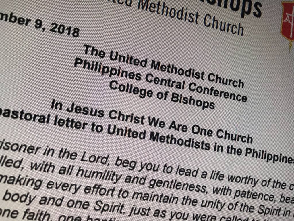 The Philippines Central Conference College of Bishops' statement. Photo courtesy United Methodist Communications.