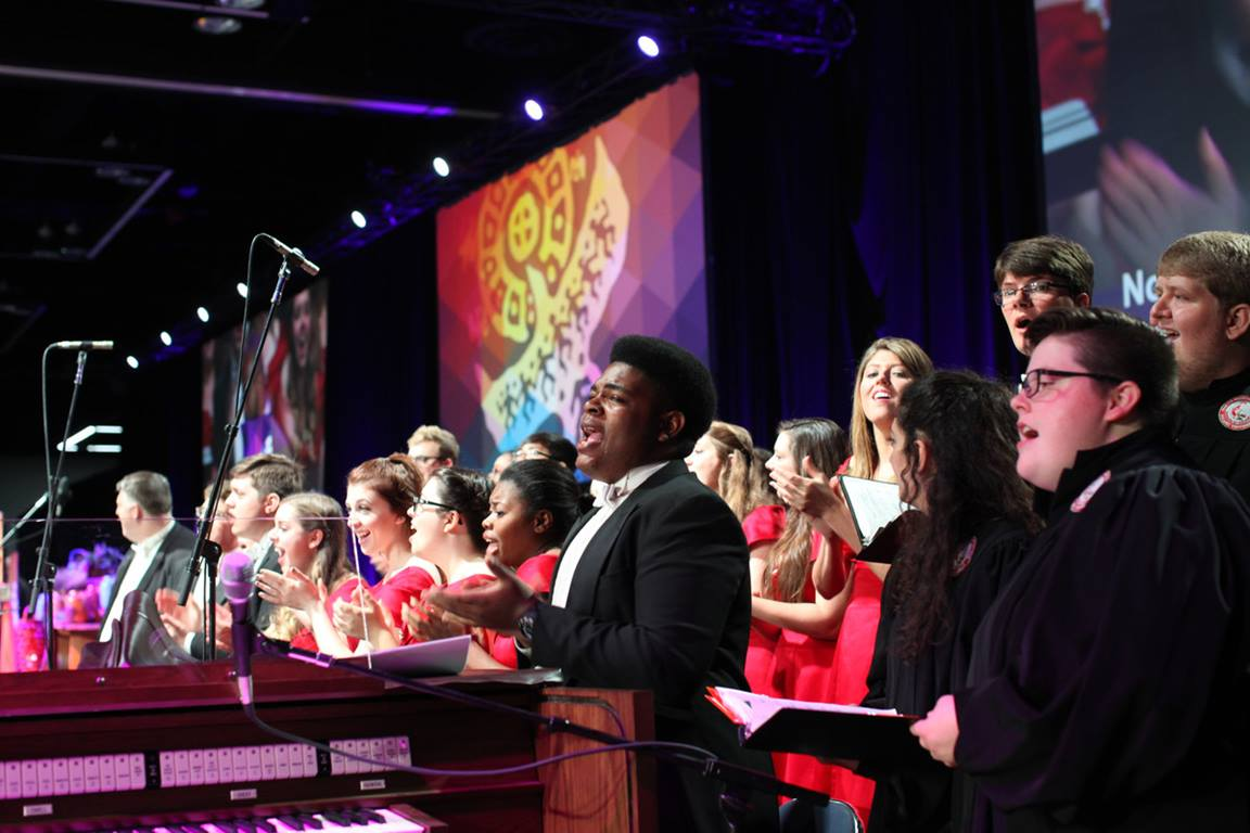Combined choirs of Centenary College and Martin Methodist College sang during the morning worship and commissioning at the 2016 United Methodist General Conference. Photo by Kathleen Barry, UMNS.