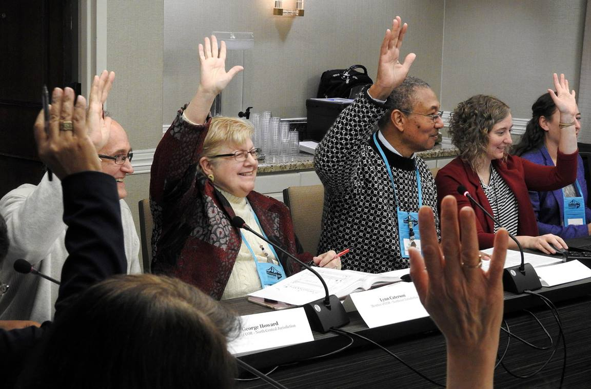 The Committee on Reference members ready to meet. Photo by Sam Hodges, UMNS.