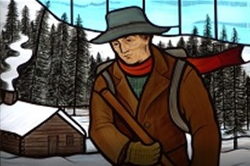 """A stained glass window at Father Dyer United Methodist Church shows the """"snowshoe itinerant,"""" John Lewis Dyer."""