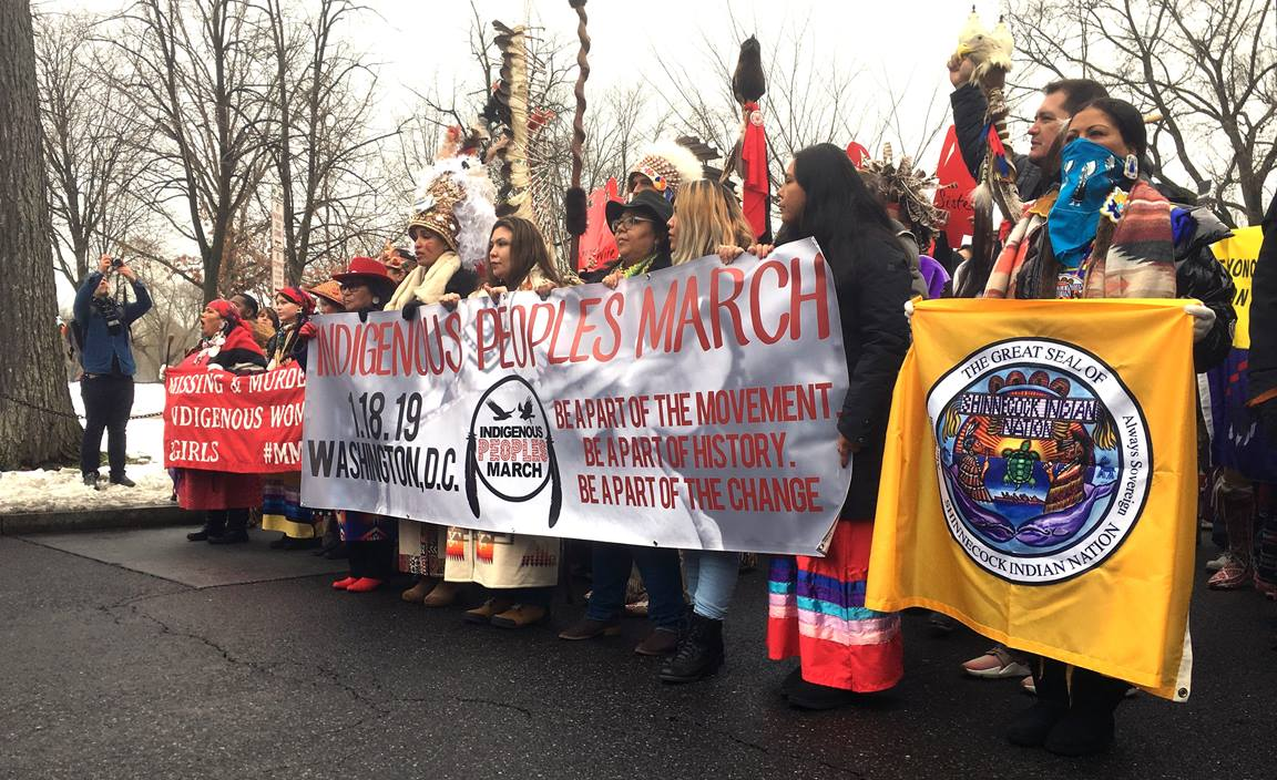 Participants in the Indigenous Peoples March walk down Constitution Ave. in Washington. Thousands of people walked from the Department of the Interior building in Washington to the steps of the Lincoln Memorial to shine a spotlight of Native America issues and concerns. UMNS photo by Erik Alsgaard, Baltimore-Washington Conference.