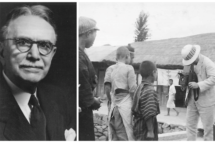 Herbert Welch, who founded the Methodist relief agency that later became UMCOR. Right: Welch taking photos in Korea, 1919, where he served as a mission bishop.