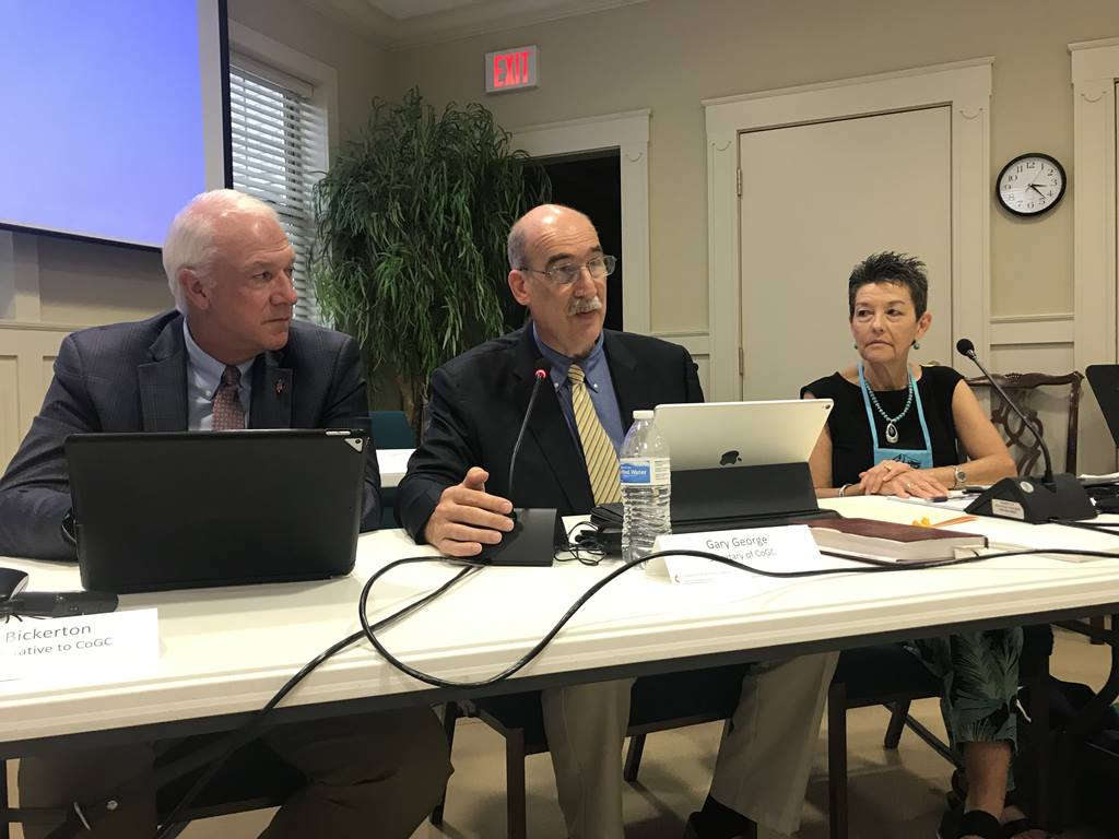 The Commission on the General Conference met August 7-9, 2019 in Lexington, Ky. Pictured are Bishop Thomas Bickerton, the Rev. Gary George, Commission secretary, and Kim Simpson, Commission chair.