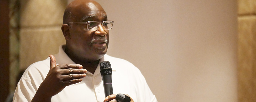Bishop Gregory V. Palmer of the West Ohio Conference's addresses the Standing Committee on Central Conference Matters during its meeting in Manila. He chaired the committee's Africa Comprehensive Plan subcommittee.