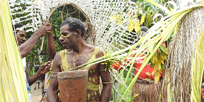 The WCC delegation is received ceremoniously in the village of Kaliki with traditional customs.
