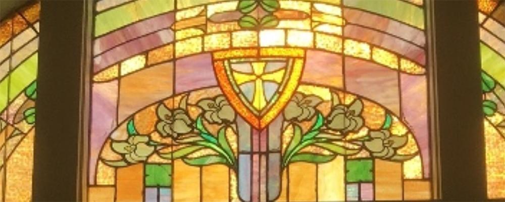 Anadarko First United Methodist Church's stained glass window in their sanctuary.