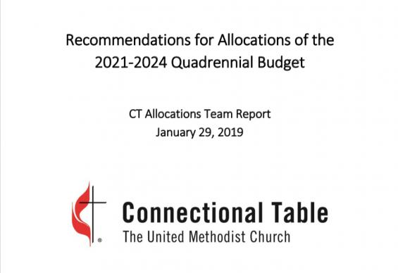 The Connectional Table's allocations team released its report on the 2021-2024 quadrennial budget.