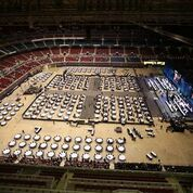 An overview of the plenary hall and stage of the Feb. 24 opening worship service for the 2019 United Methodist General Conference in St. Louis.