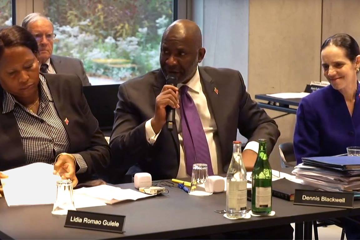 Judicial Council members ask questions during an oral hearing on Oct. 23 in Zurich. From left are members Lídia Romão Gulele, the Rev. Dennis Blackwell and Beth Capen. Screengrab from oral hearings video.