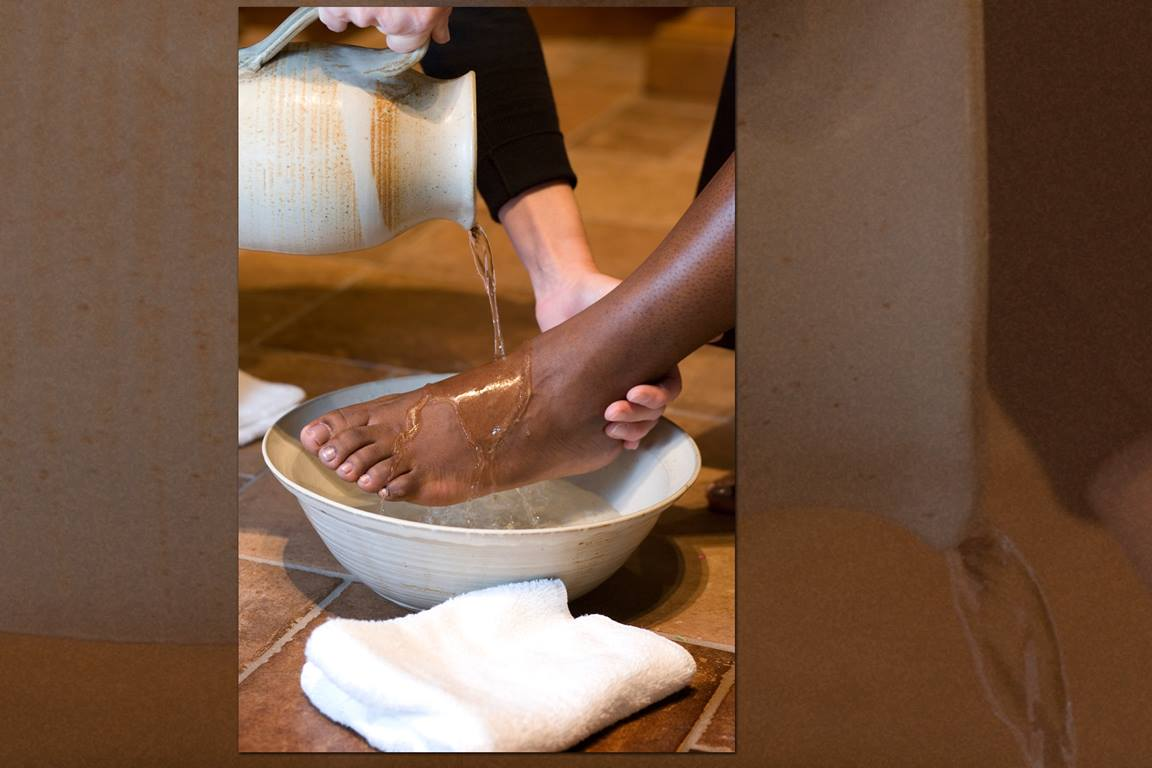Maundy Thursday services generally include the washing of feet or other acts of physical care. Photo by Mike DuBose, United Methodist Communications.